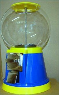 Erdnuss Automat Nussautomat gefüllt rotbraune Erdnüsse blau/gelb
