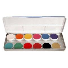 FP Kryolan 12 Farben Aquacolor Schminkpalette 12er