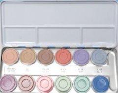 P Kryolan 12 Farben Aquacolor Schminkpalette 12er