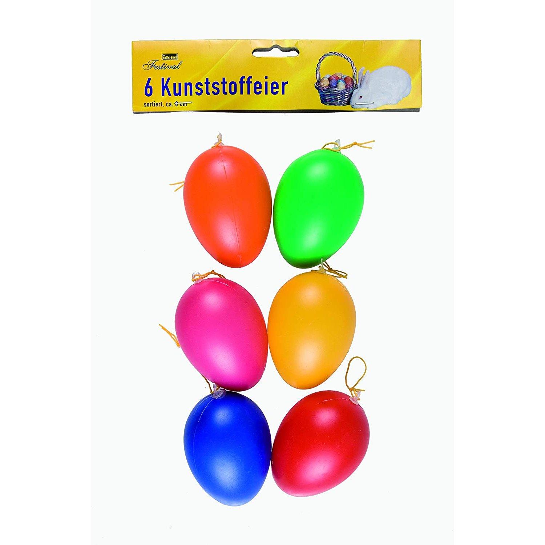 Deko-Eier Ostereier Kunststoff Kunststoffeier 9cm 6er farbig sortiert