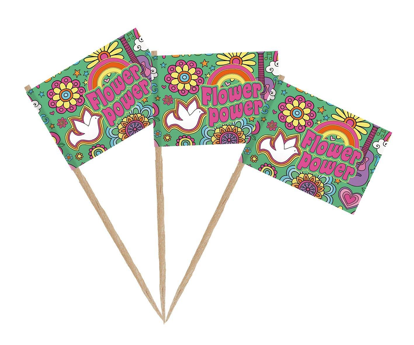 50 Dekopicker Flaggen-Picker Flaggenpicker Flower Power Käsepicker
