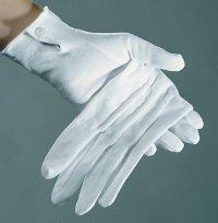 Paar Stoff Handschuhe Herren weiß mit Biesen Baumwolle