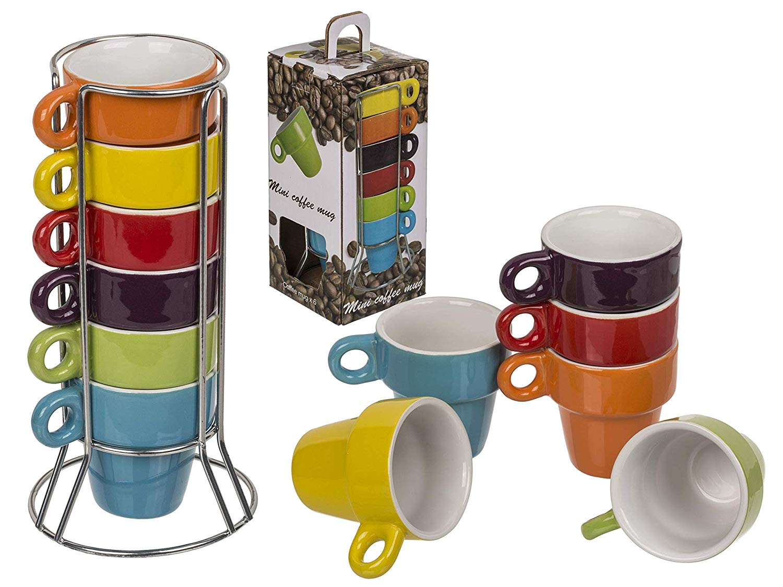 Espresso Tassen ca. 5x5cm - 6 Stück im Chromständer und Geschenkbox