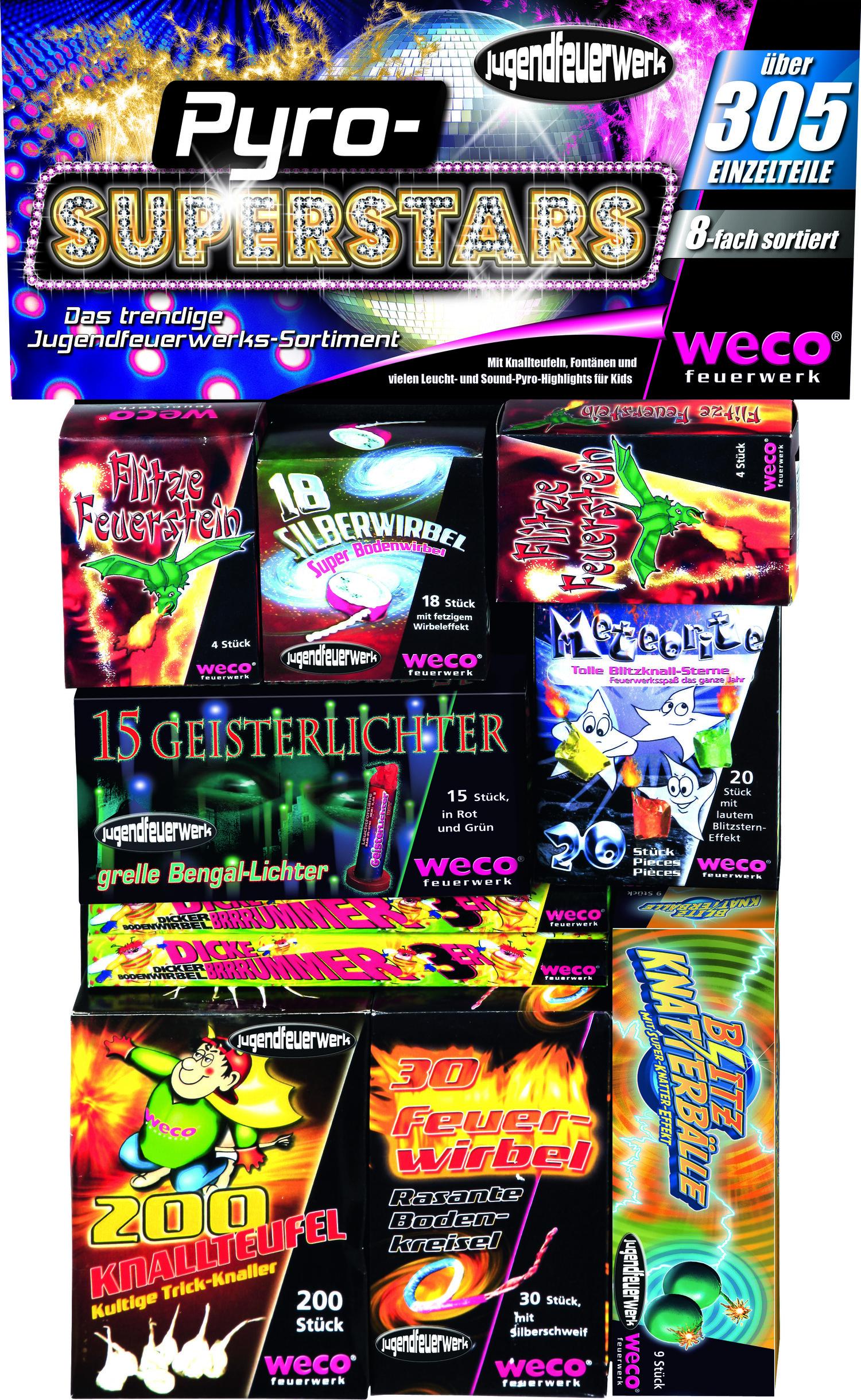 Weco Pyro Superstars ca. 306 Teile Ganzjahres-Jungendfreies-Feuerwerk