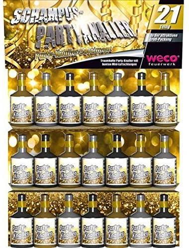 Weco 21 Stück Schampus Party Knaller Gold und Silber Partyknaller