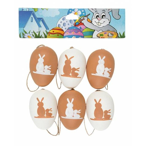 Deko-Eier Ostereier Kunststoff Kunststoffeier 6cm 6er Rabbit